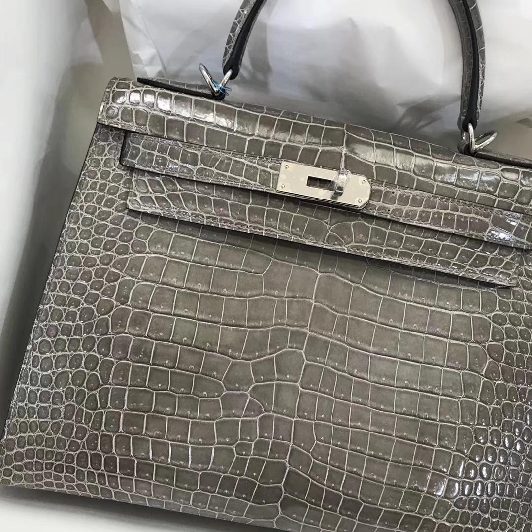 Noble Hermes Shiny Crocodile Kelly Bag28CM in C81 Gris Tourterelle Silver Hardware