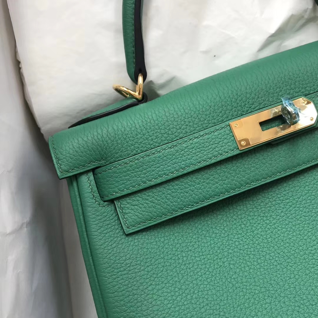 Fashion Hermes U4 Vert Verigo Togo Calfskin Kelly28cm Bag Gold Hardware