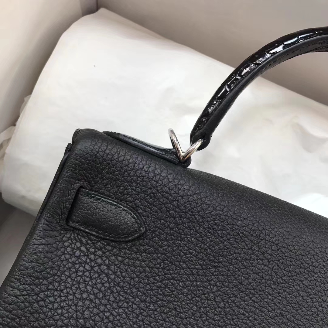 Elegant Hermes Togo Calfskin Kelly28CM Bag Crocodile Leather Tote Silver Hardware