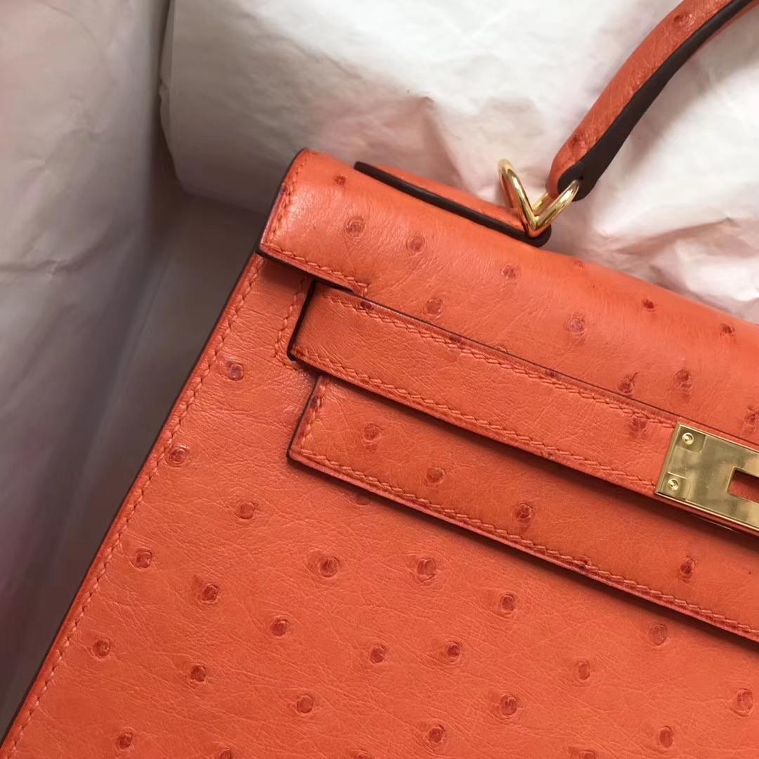Pretty Hermes 93 Orange Ostrich Leather Kelly Bag28cm Gold Hardware