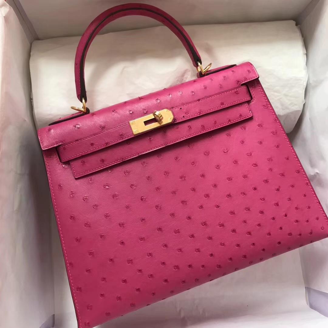 Fashion Hermes Ostrich Leather Kelly28CM Bag in J5 Hot Pink Gold Hardware