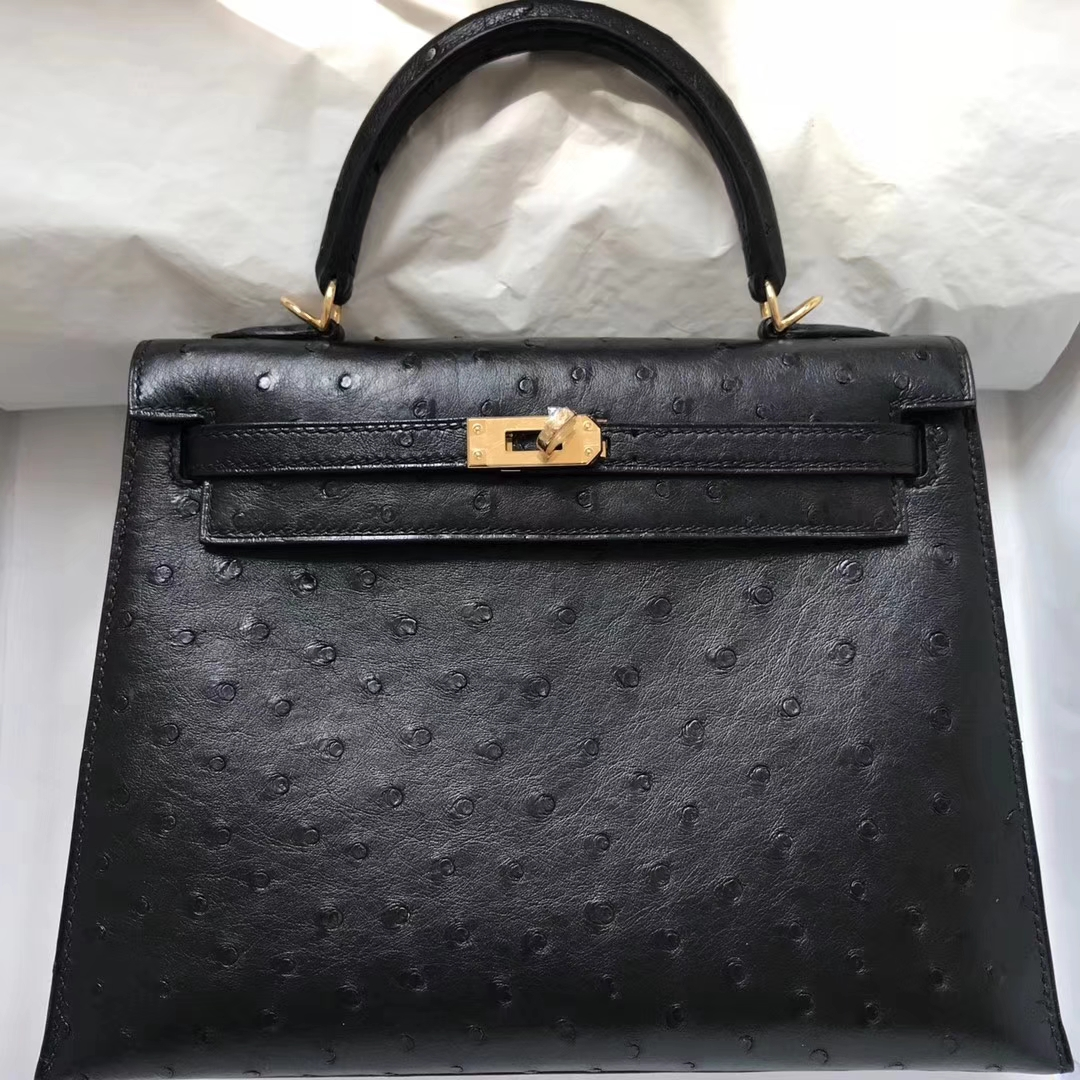 Discount Hermes CK89 Black Ostrich Leather Kelly28CM Handbag Gold Hardware