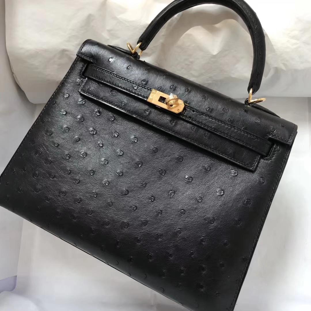 Discount Hermes CK89 Black Ostrich Leather Kelly28CM Handbag Gold Hardware