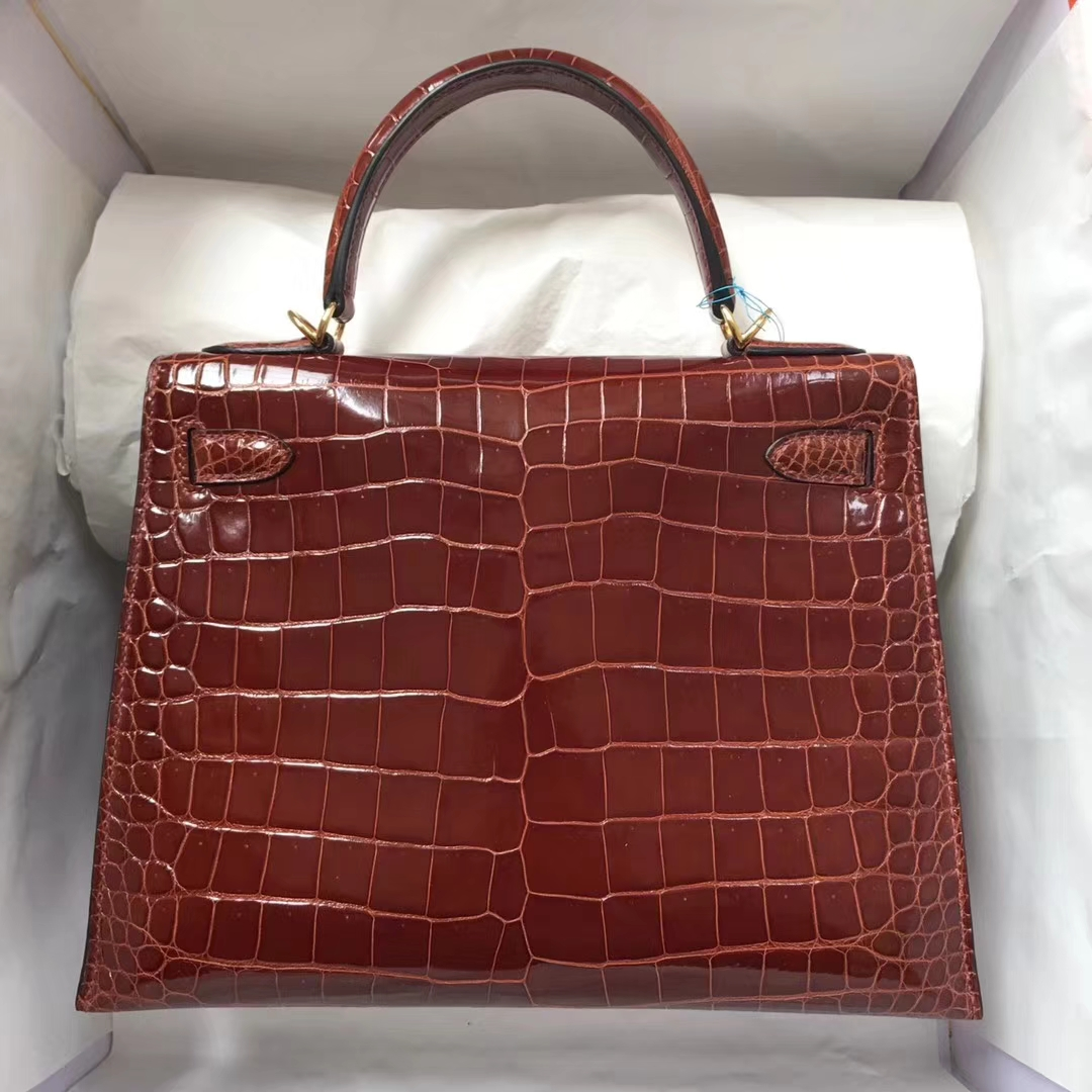 Luxury Hermes Shiny Crocodile Leather Kelly28CM Bag in CK31 Miel Brown