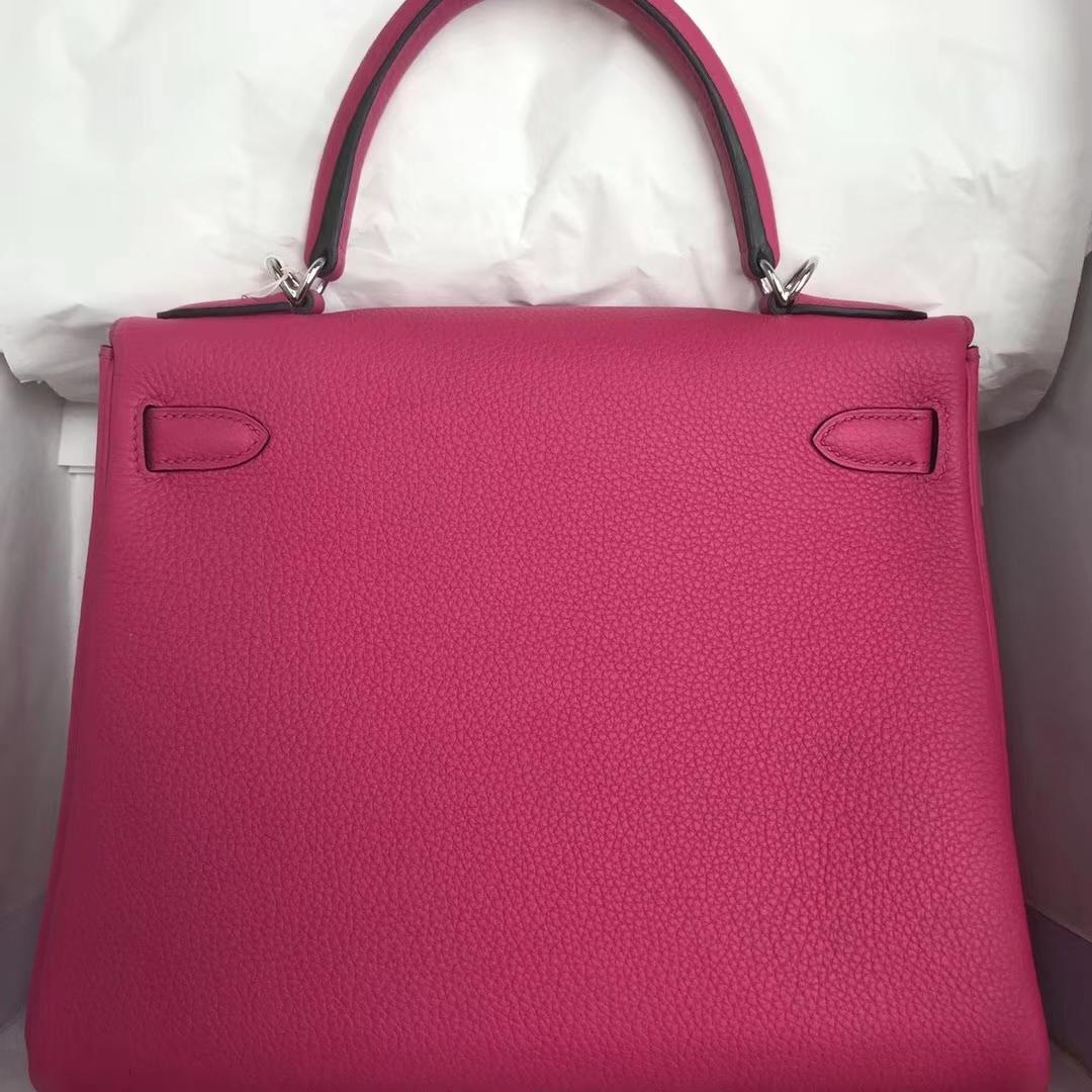Sale Hermes Togo Calfskin Kelly Bag28CM in L3 Rose Purple Silver Hardware
