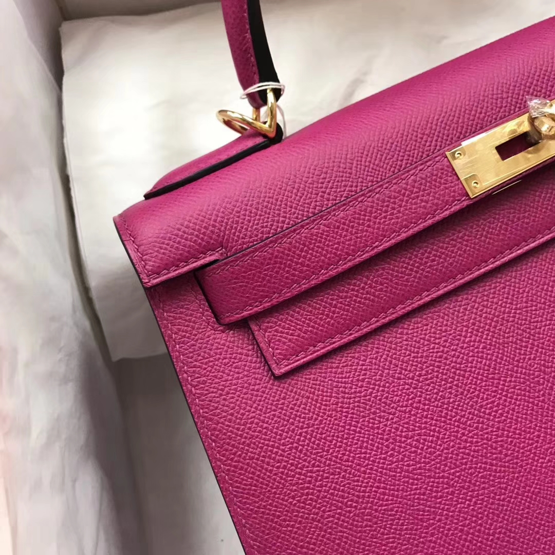 Pretty Hermes L3 Rose Purple Epsom Calf Kelly28CM Tote Bag Gold/Silver Hardware