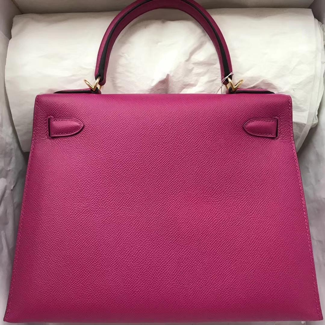 Pretty Hermes L3 Rose Purple Epsom Calf Kelly28CM Tote Bag Gold/Silver Hardware
