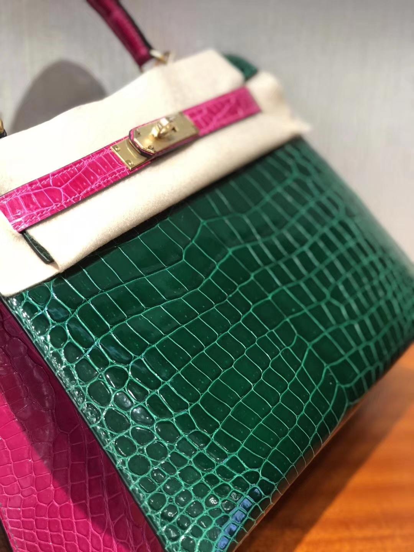 Luxury Hermes CK67 Vert Fonce/J5Rose Scheherazade Shiny Crocodile Kelly28CM Bag