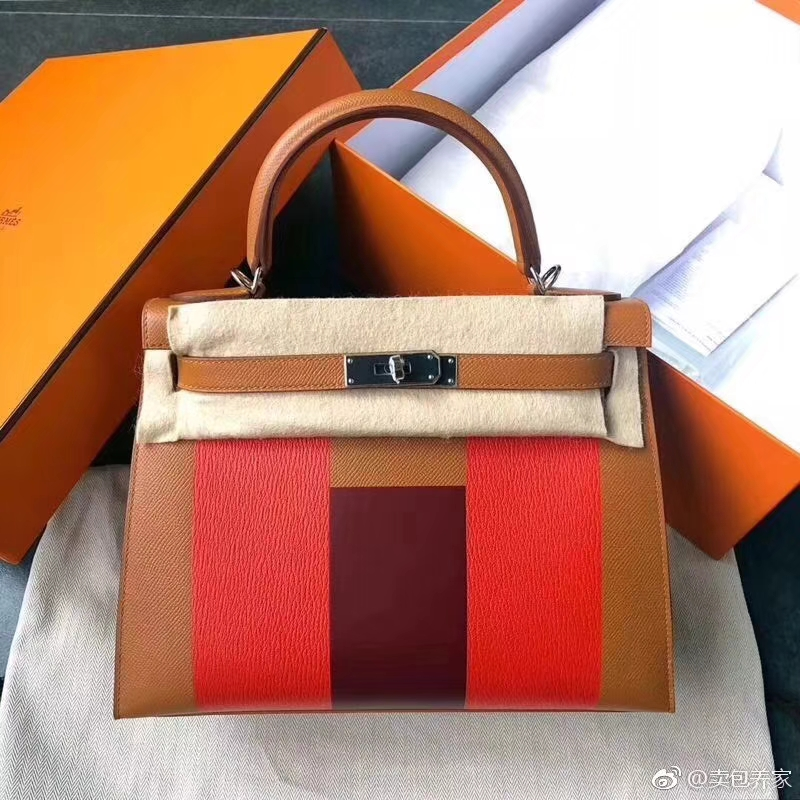New Hermes Tri-color Epsom/Cherve Leather Kelly Sellier Tote Bag28CM Silver Hardware
