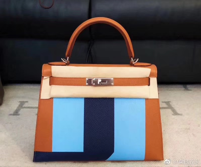 Fashion Hermes Tri-color Kelly28CM Handbag Epsom/Cherve/TC Leather