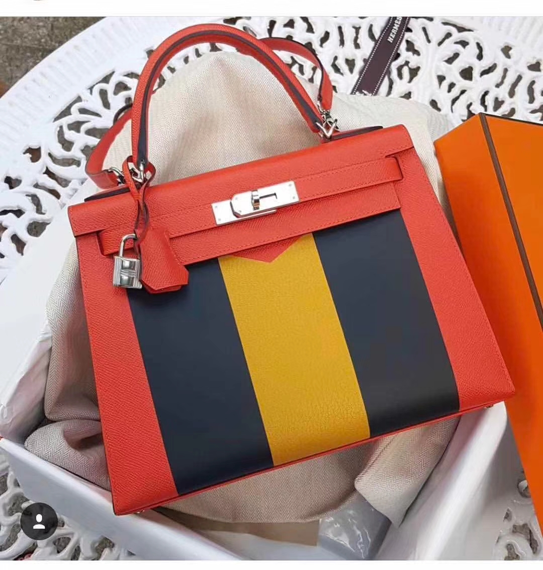 Wholesale Hermes Kelly Bag Tri-Color Epsom/Cherve/Sombrero Leather Silver Hardware