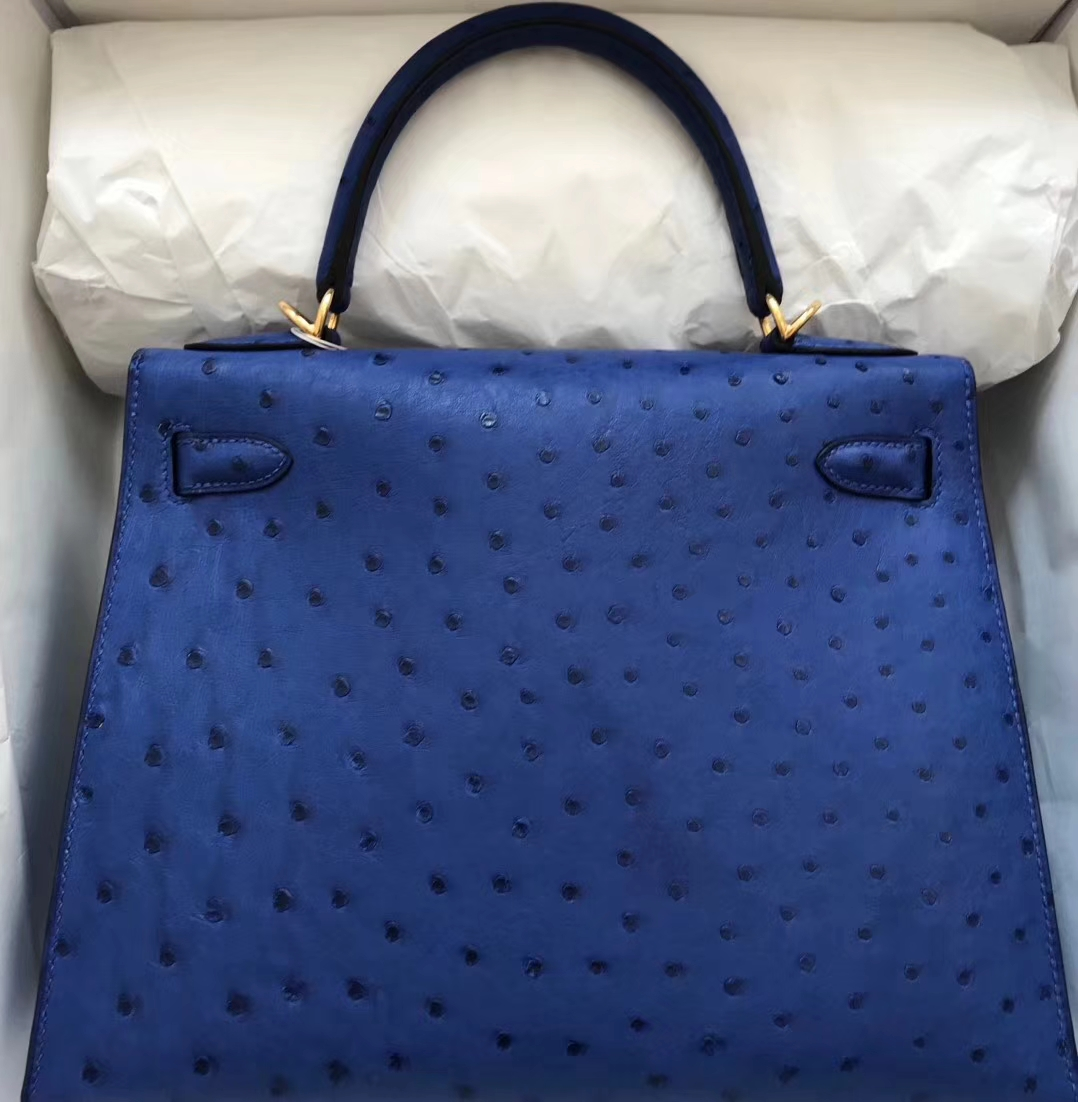 Elegant Hermes 7T Blue Electric Ostrich Leather Kelly Bag28cm Gold Hardware
