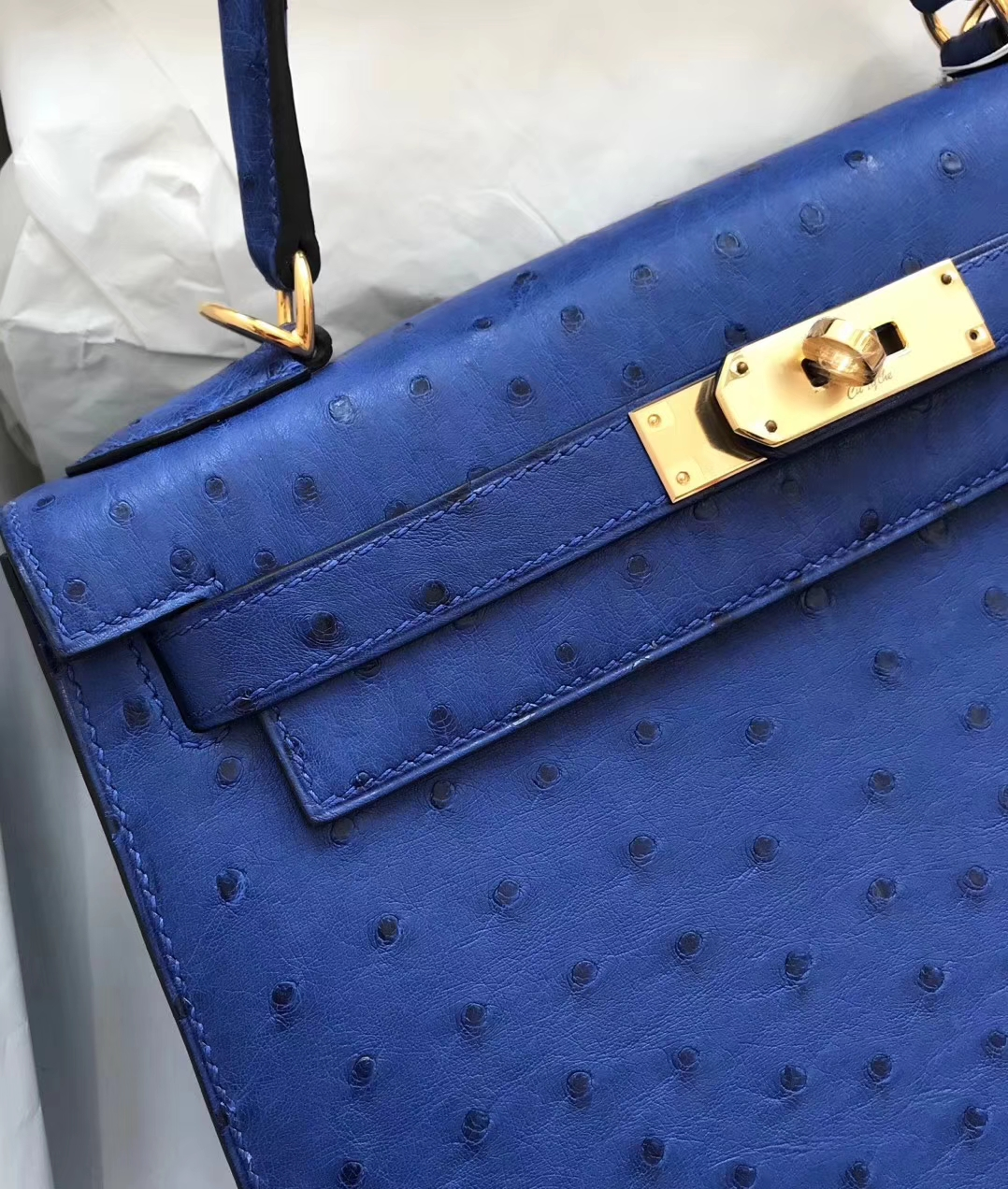 Elegant Hermes 7T Blue Electric Ostrich Leather Kelly Bag28cm Gold Hardware