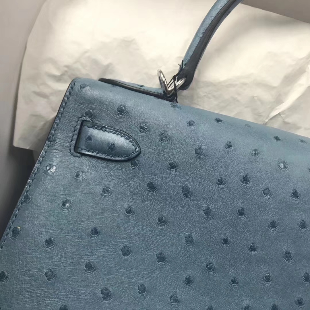 Fashion Hermes Ostrich Leather Kelly Bag28cm in CK75 Blue Jean Silver Hardware