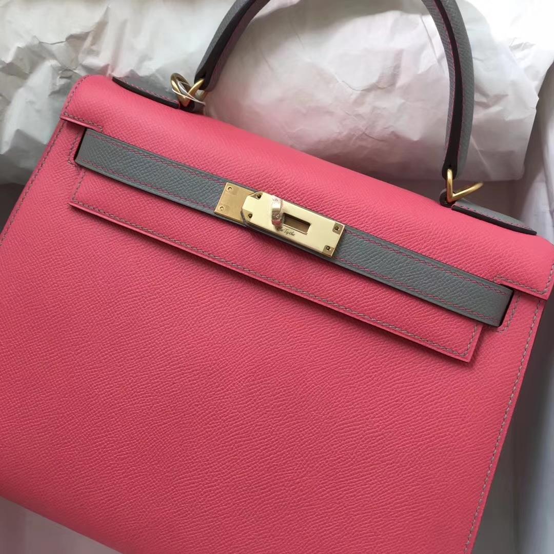 Wholesale Hermes 8W Rose Lipstick/4ZGris Mouette Epsom Calf Kelly28cm Bag