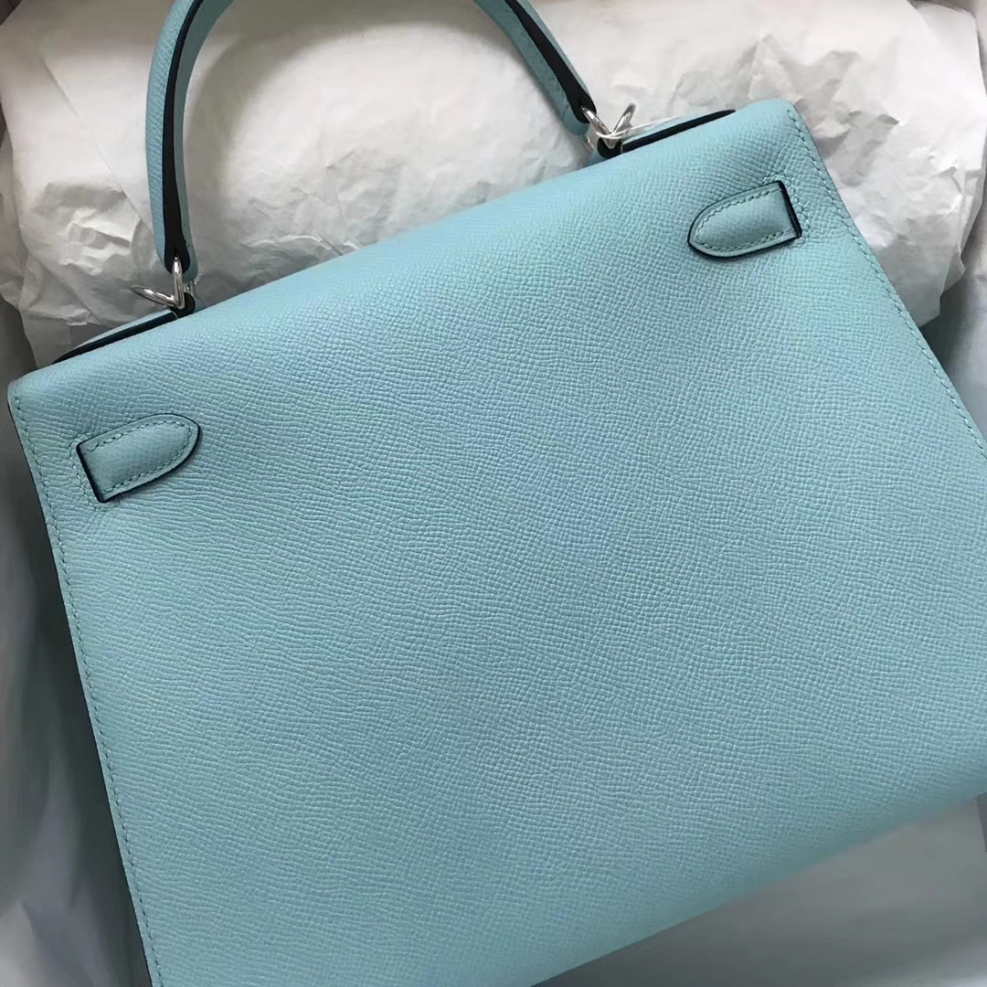Discount Hermes Epsom Calf Kelly Bag28CM in 3P Blue Attol Silver Hardware