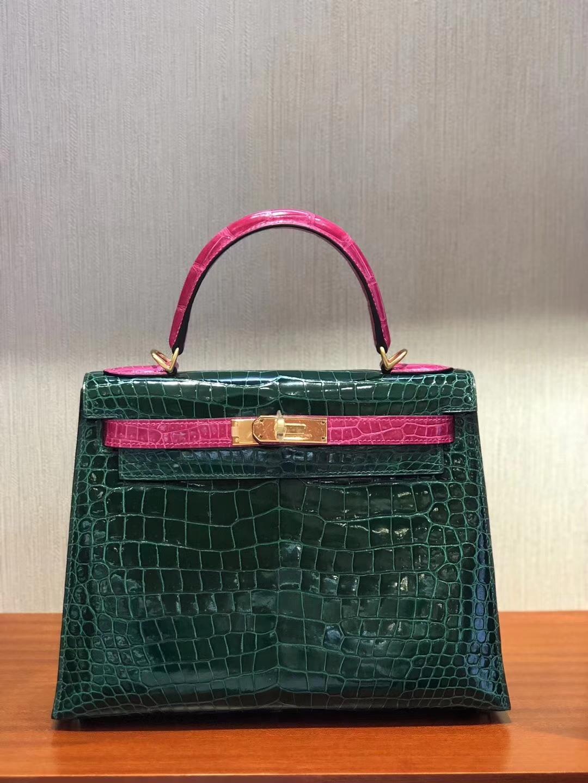 Luxury Hermes CK67 Vert Fonce/J5Rose Scheherazade Crocodile Leather Kelly28CM Bag