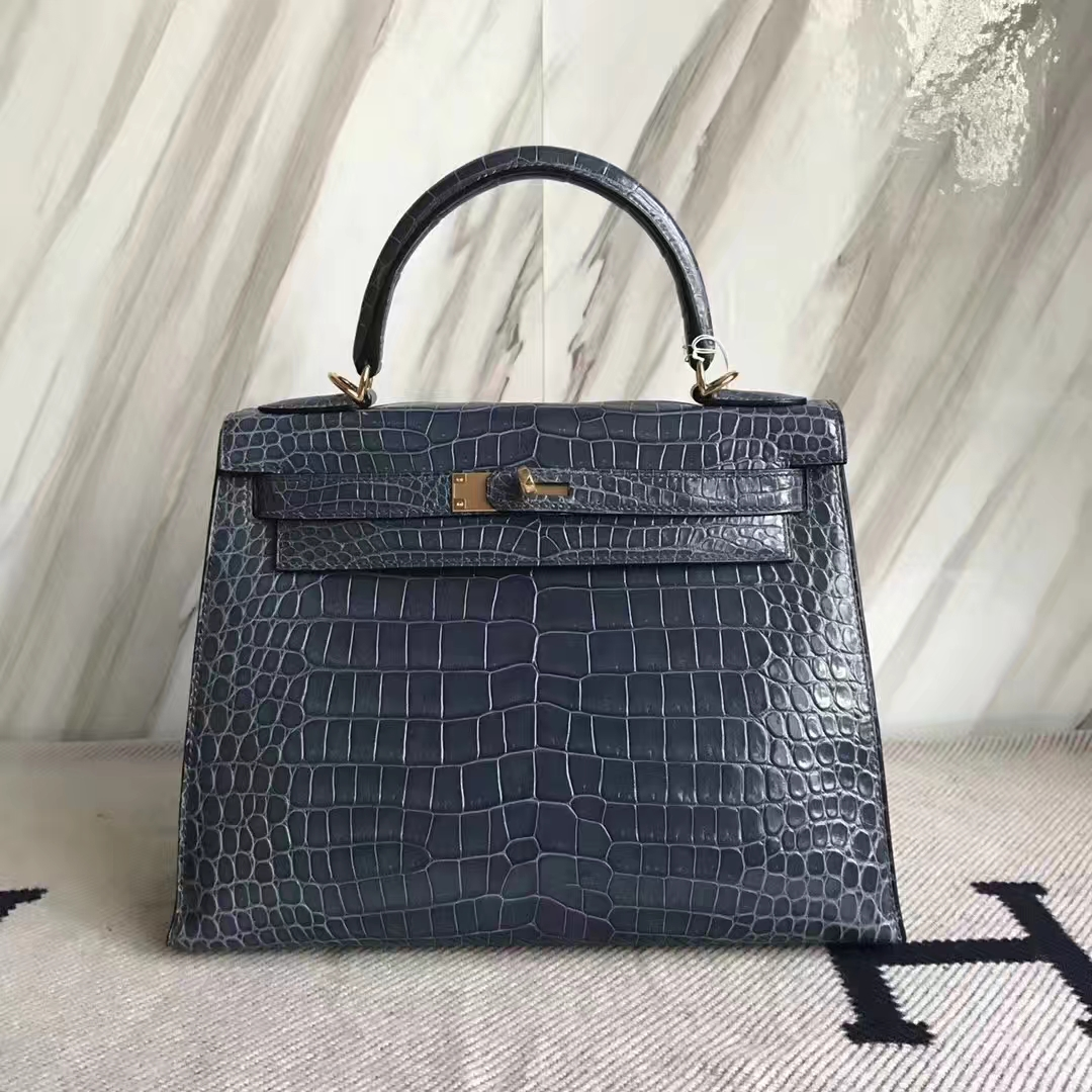 Discount Hermes Porosus Shiny Crocodile Kelly28CM Bag in N7 Blue Tempete
