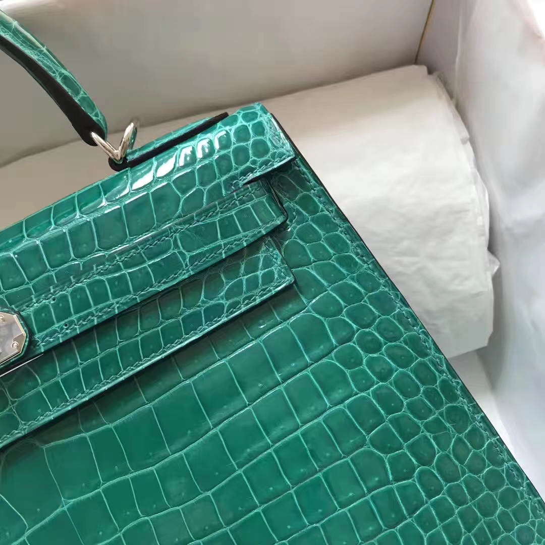 Luxury Hermes 6Q Emerald Green Shiny Crocodile Kelly Bag28CM Silver Hardware