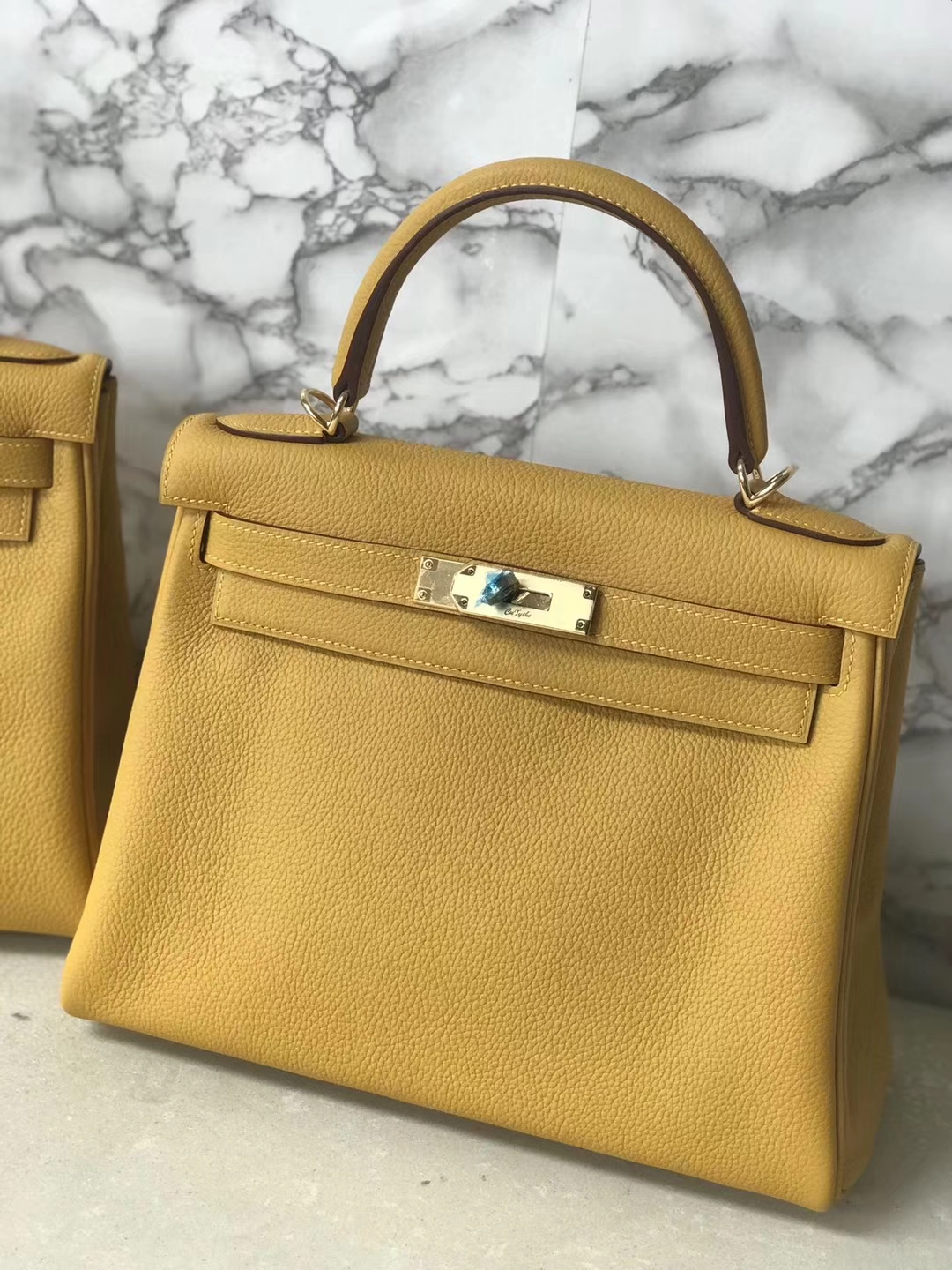 Wholesale Hermes Kelly Bag28CM in 9D Ambre Yellow Togo Leather Gold Hardware