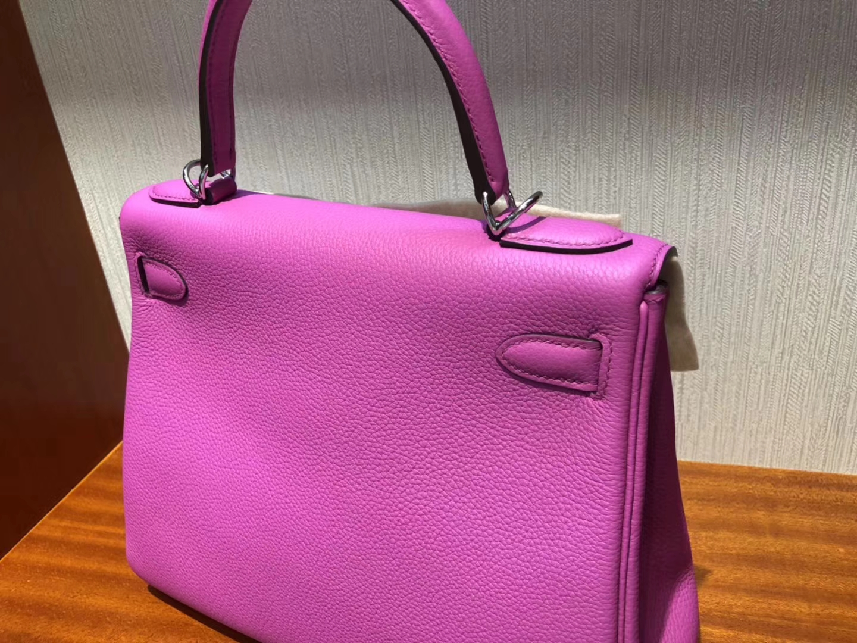 Pretty Hermes 9I Rose Magnolia Togo Calf Kelly28CM Bag Silver Hardware