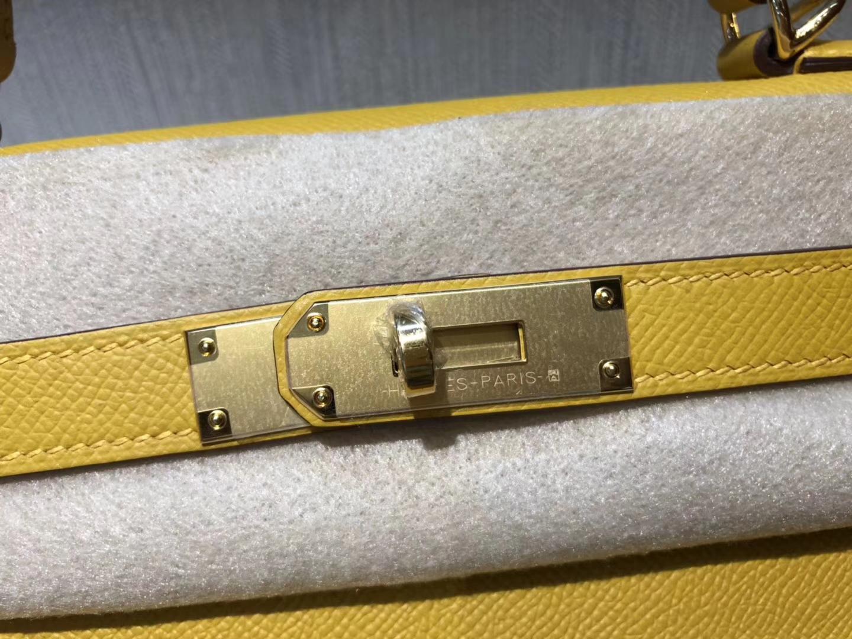 Wholesale Hermes 9D Ambre Yellow Epsom Calf Kelly Bag28cm Gold Hardware