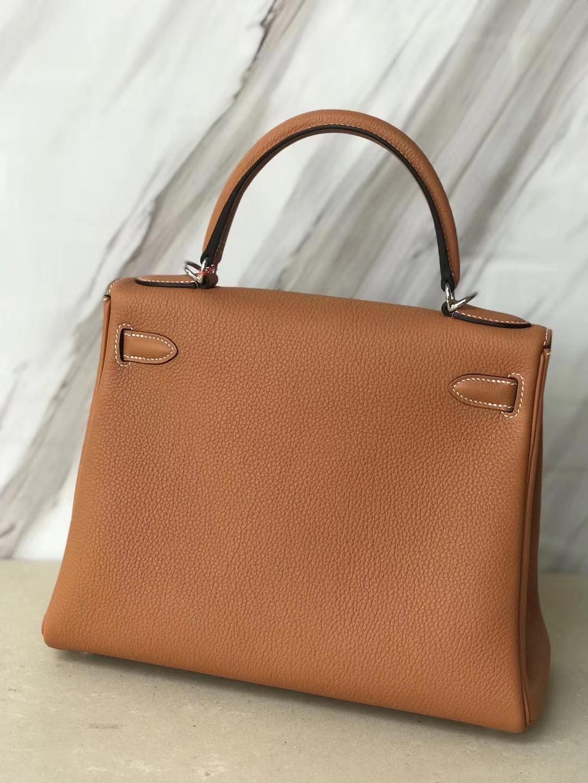 Wholesale Hermes 1H Toffee Color Togo Calf Kelly Bag28CM Gold Hardware