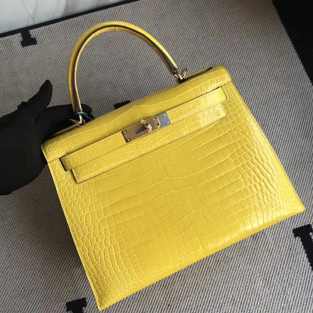 Luxury Hermes 9D Ambre Yellow Porosus Shiny Crocodile Kelly28CM Bag Gold Hardware