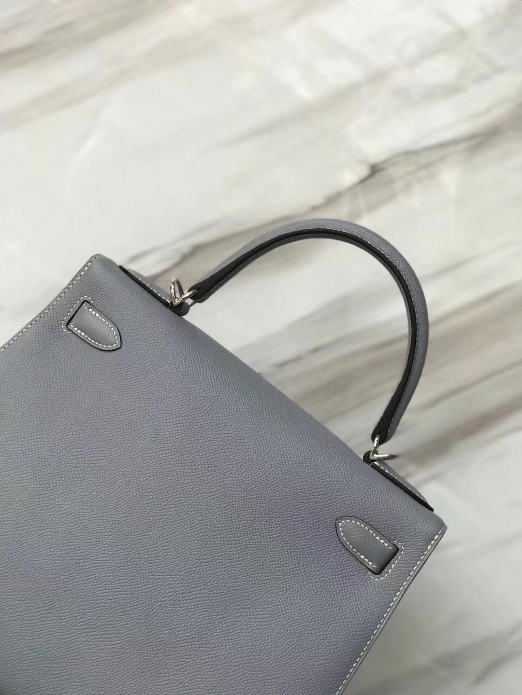 Wholesale Hermes J7 Blue Lim Epsom Calf Kelly Bag28CM Silver Hardware