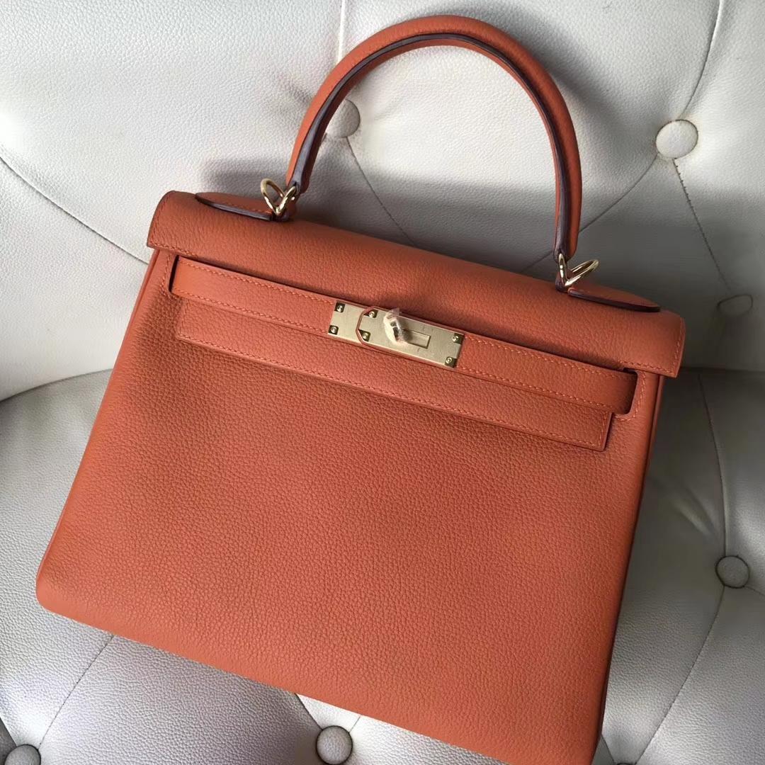 New Arrival Hermes 6C Cuivre Color Togo Calf Kelly28CM Bag Gold Hardware