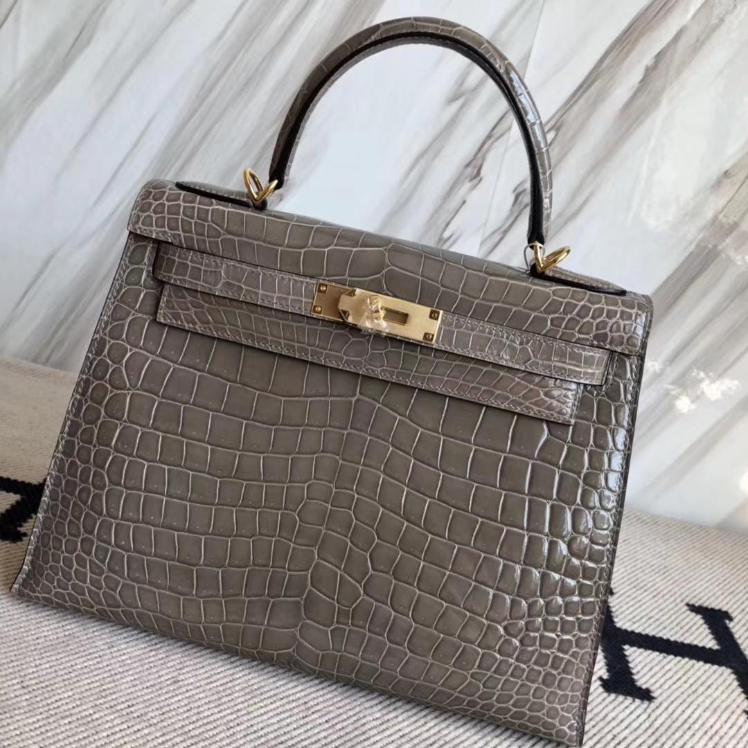 Luxury Hermes CK81 Gris Tourterelle Shiny Crocodile Leather Kelly28CM Bag