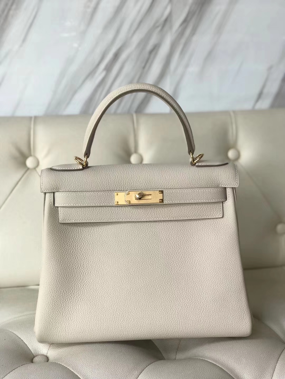 Elegant Hermes CK10 Craie White Togo Calf Kelly28CM Tote Bag Gold Hardware