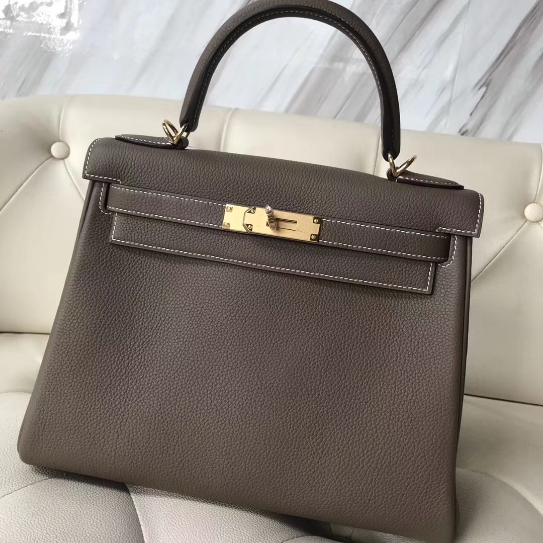 Elegant Hermes Togo Calf RetourneKelly Bag28CM in CK18 Etoupe Grey Gold/Silver Hardware