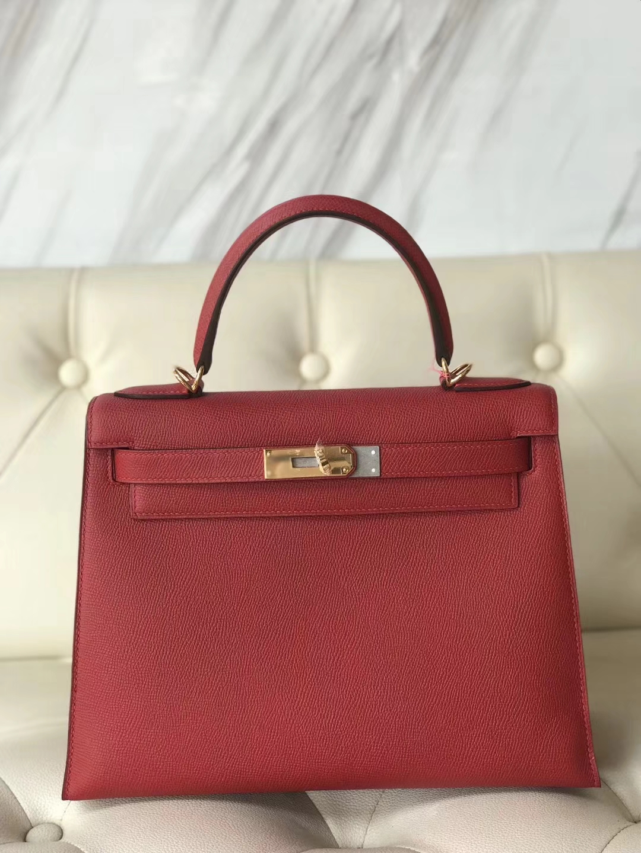 Pretty Hermes Q5 Rouge Casaque Epsom Calf Kelly28CM Bag Gold/Silver Hardware