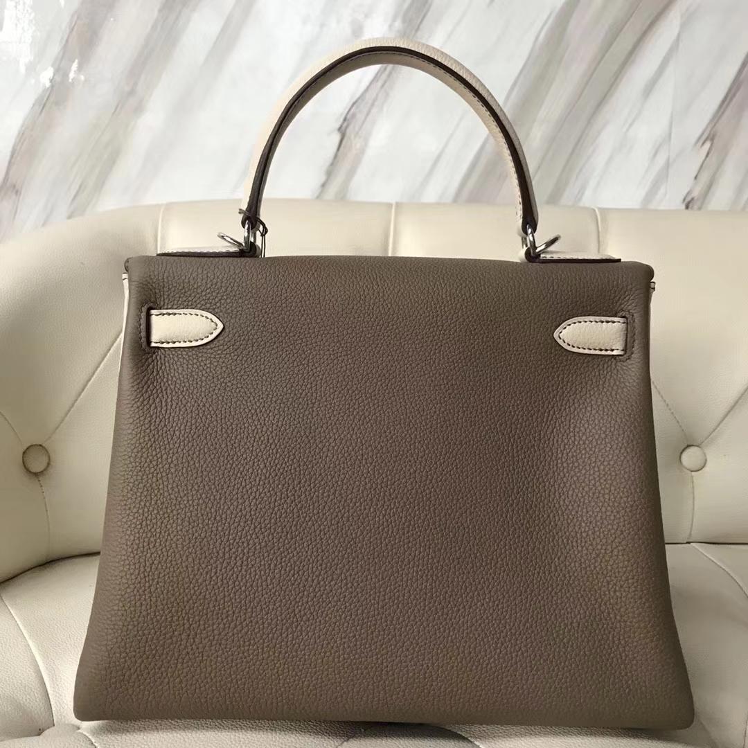 Sale Hermes CK18 Etoupe Grey/CK10 Craie White Togo Calf Kelly Bag28CM Silver Hardware