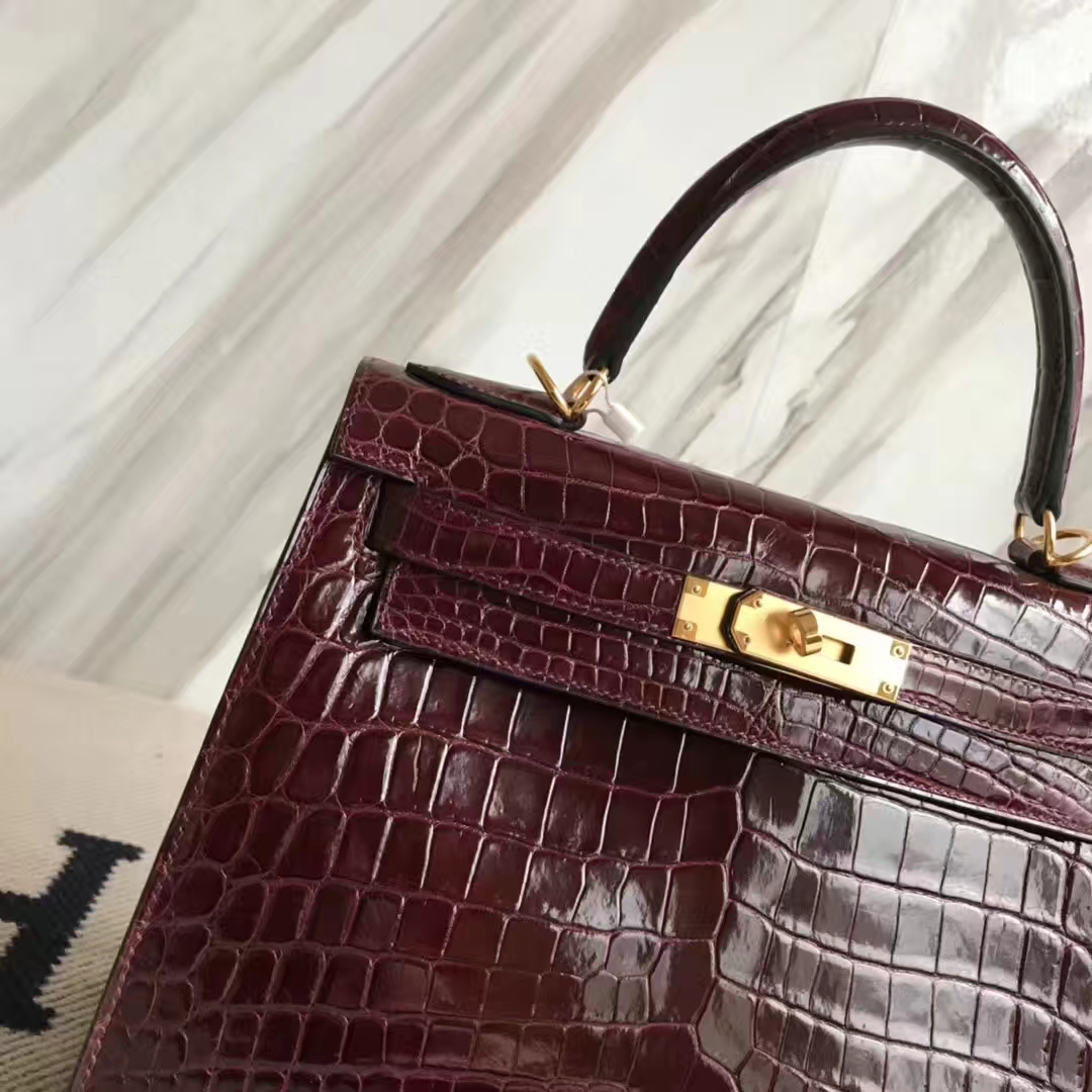 Luxury Hermes CK57 Bordeaux Red Shiny Crocodile Leather Kelly28CM Bag Gold Hardware