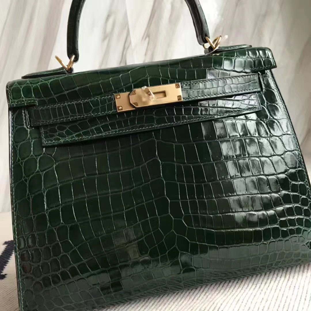 Wholesale Hermes Shiny Crocodile Leather Sellier Kelly Bag28CM in CK67 Vert Fonce Gold Hardware