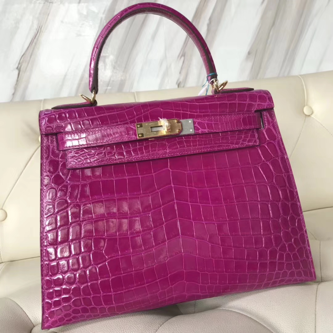 Luxury Hermes J5 Rose Scheherazade Shiny Crocodile Kelly28CM Tote Bag Gold Hardware