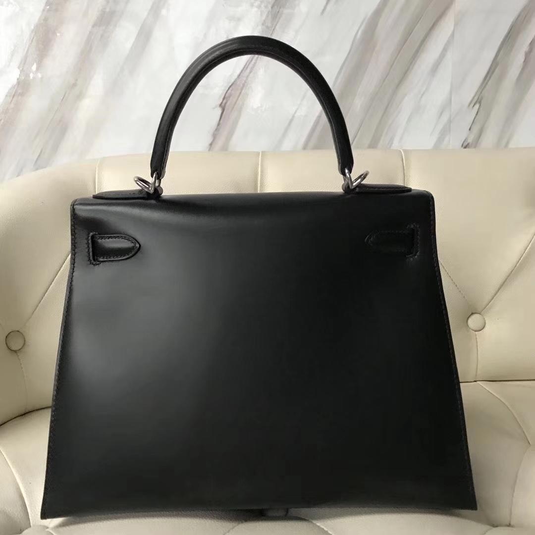 Discount Hermes Box Calf Kelly Bag28CM in CK89 Black Gold/Silver Hardware