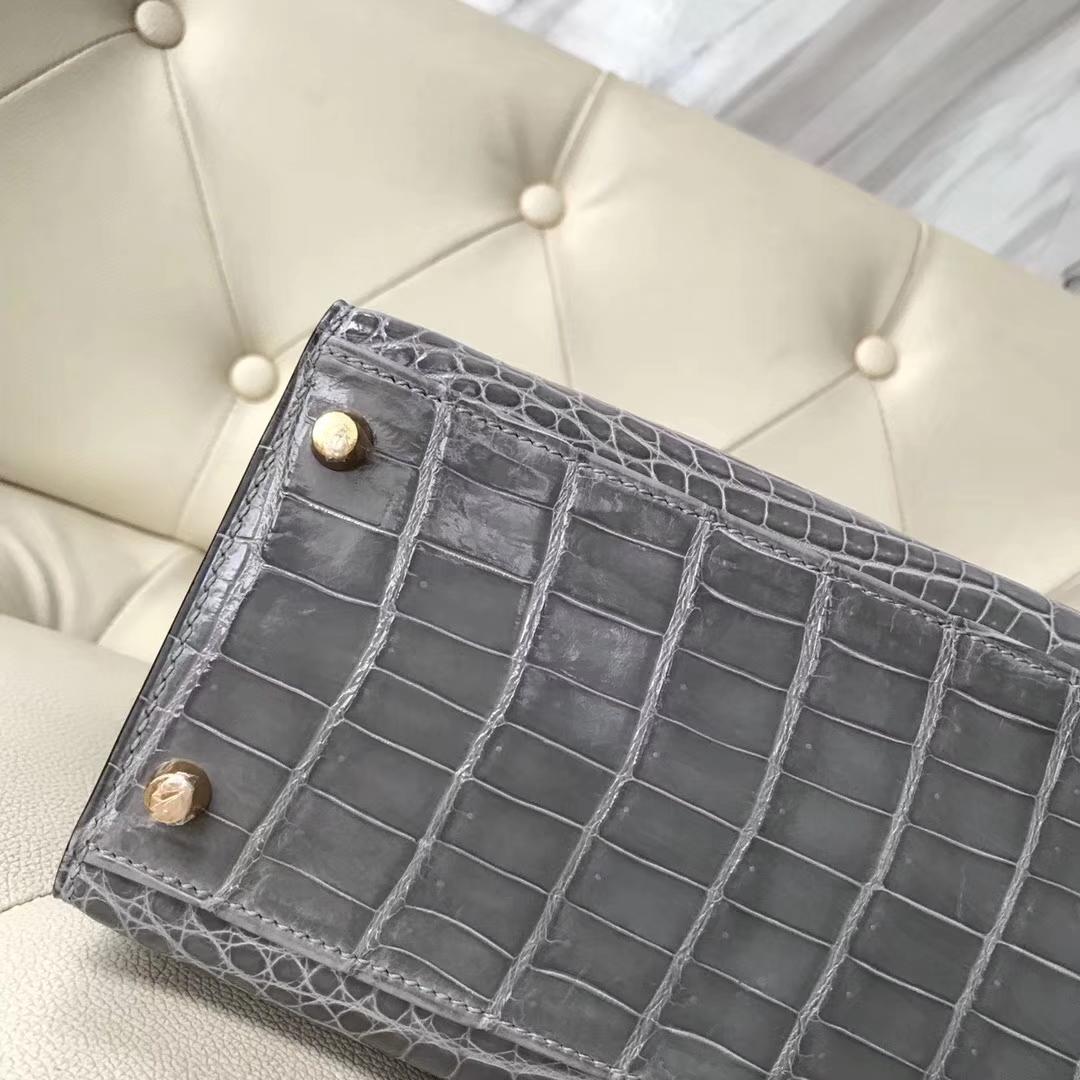 Noble Hermes Shiny Nilo Crocodile Kelly Bag28CM in 8U Blue Glacier Gold Hardware