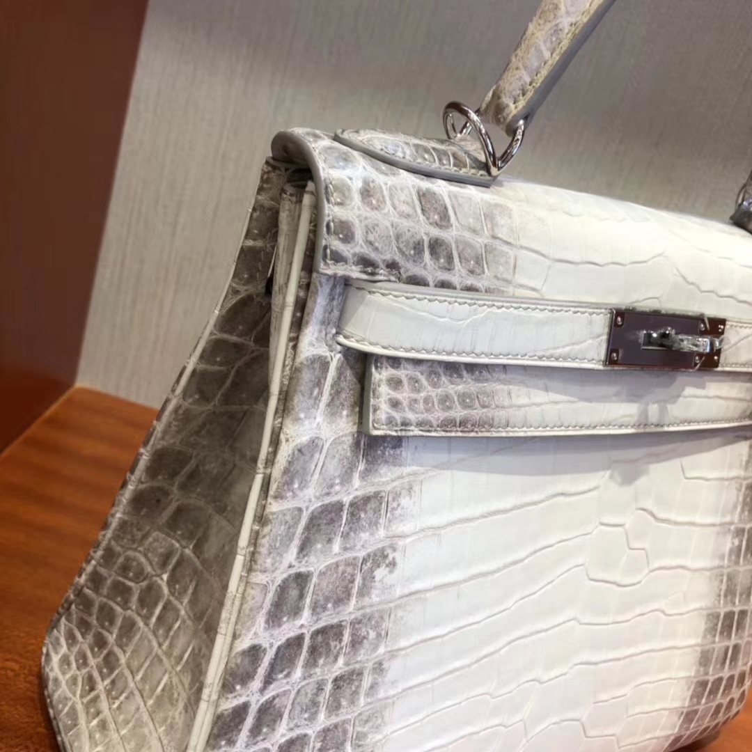 Luxury Hermes Himalaya Crocodile Leather Kelly28CM Bag Silver Hardware