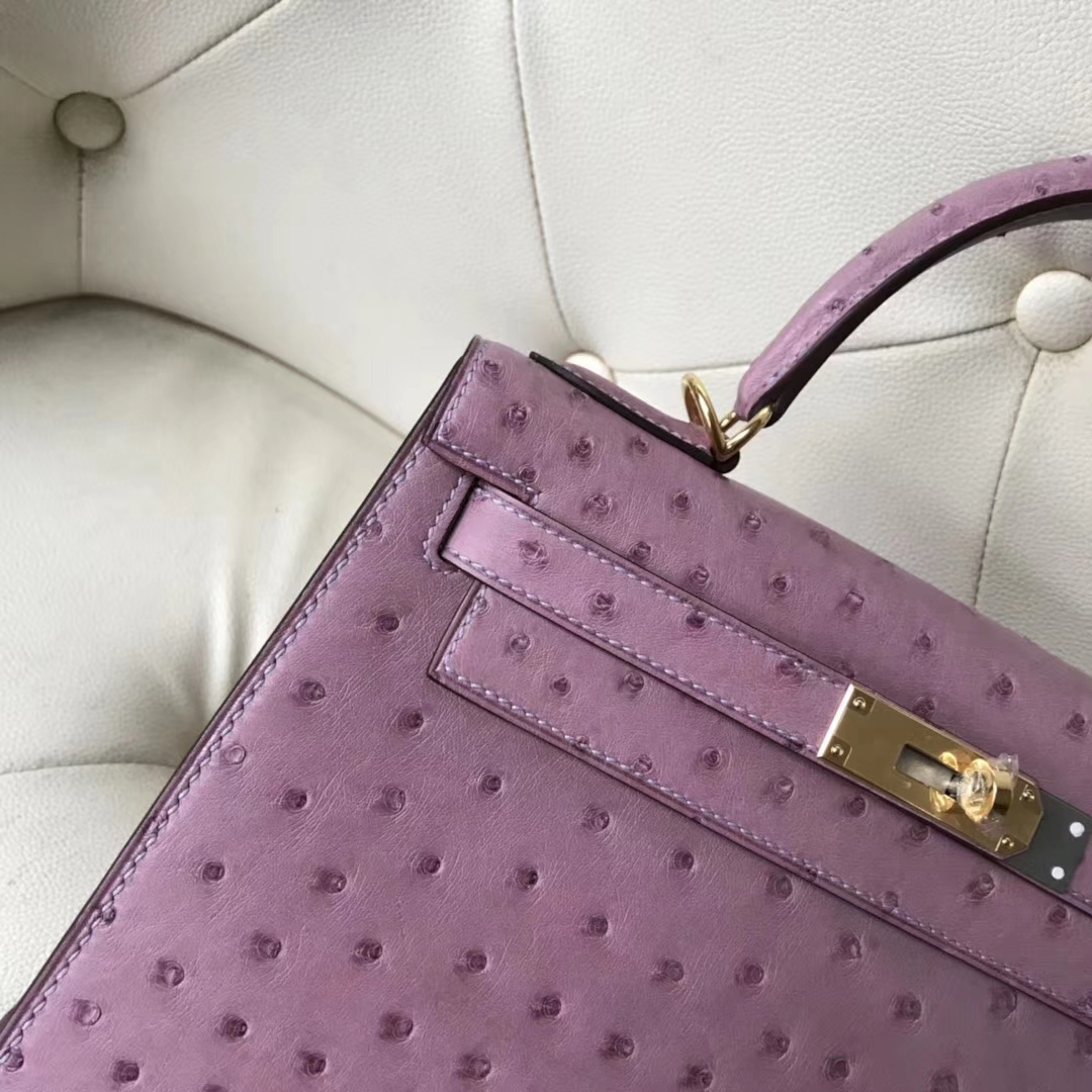 Pretty Hermes Lavender Purple Ostrich Leather Kelly Bag28CM Gold Hardware
