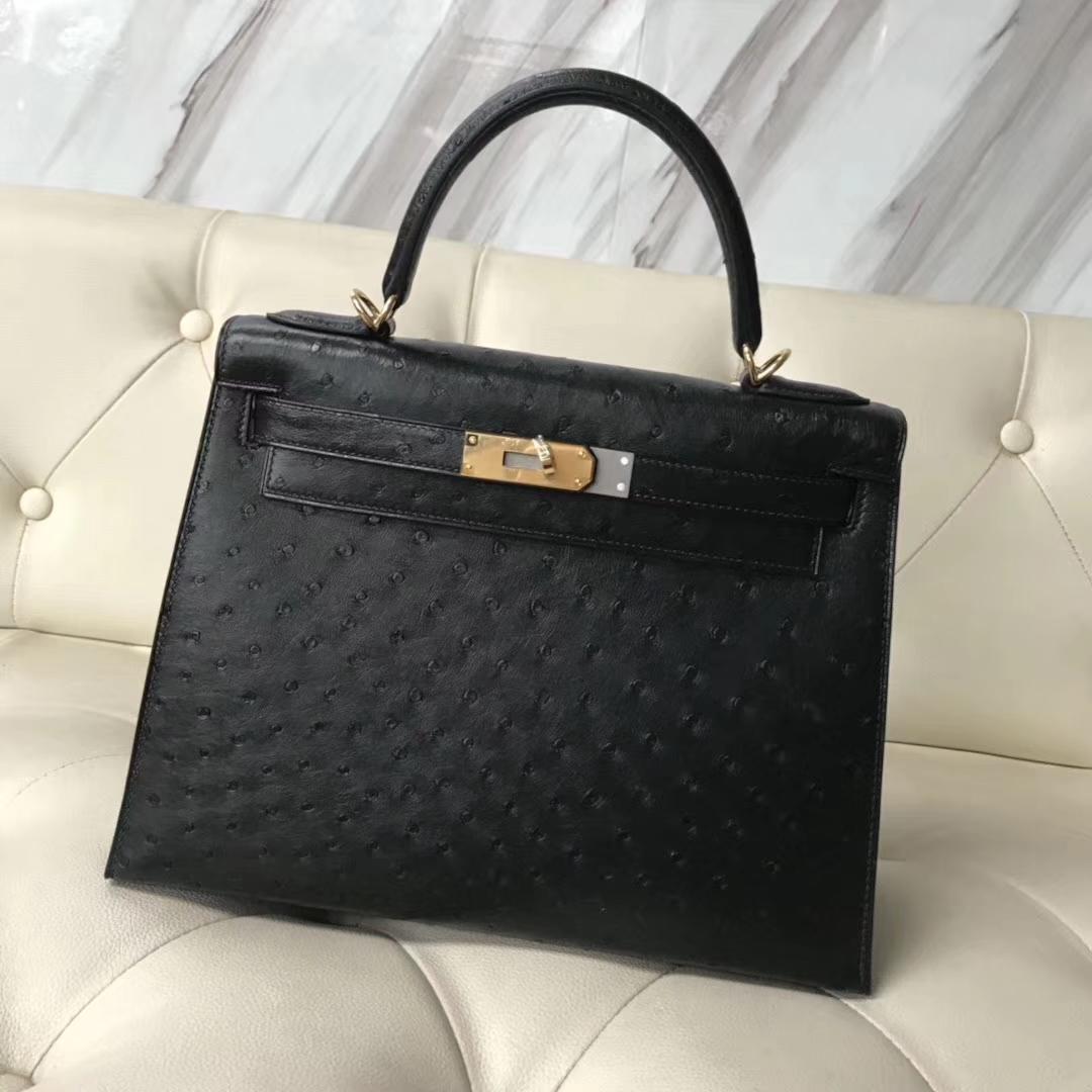 Discount Hermes Ostrich Leather Kelly Bag28CM in CK89 Black Gold Hardware