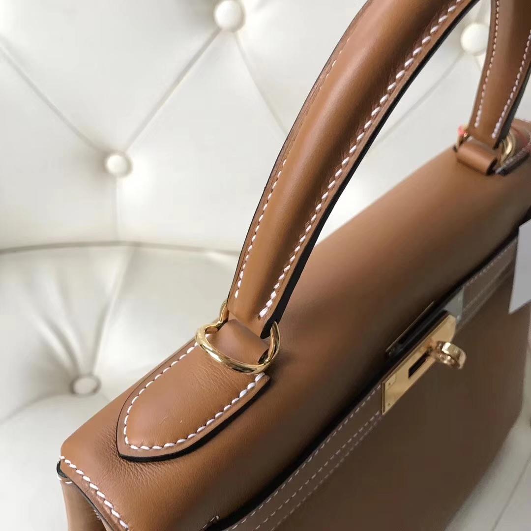 Noble Hermes CK37 Gold  Swift Calf Leather RetourneKelly28cm Bag Gold Hardware