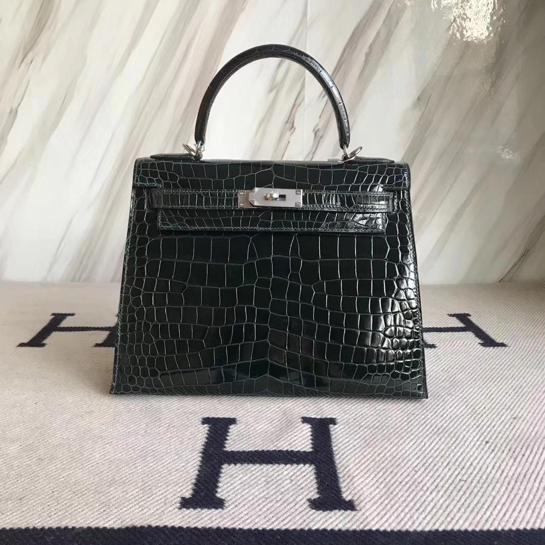 Noble Hermes Shiny Porosus Crocodile Kelly28CM Bag in 1P Blue Colvert Silver Hardware