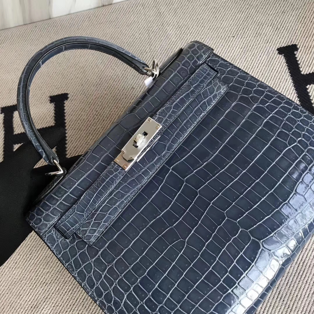 Fashion Hermes N7 Blue Tempete Shiny Crocodile Leather Kelly28CM Bag Silver Hardware