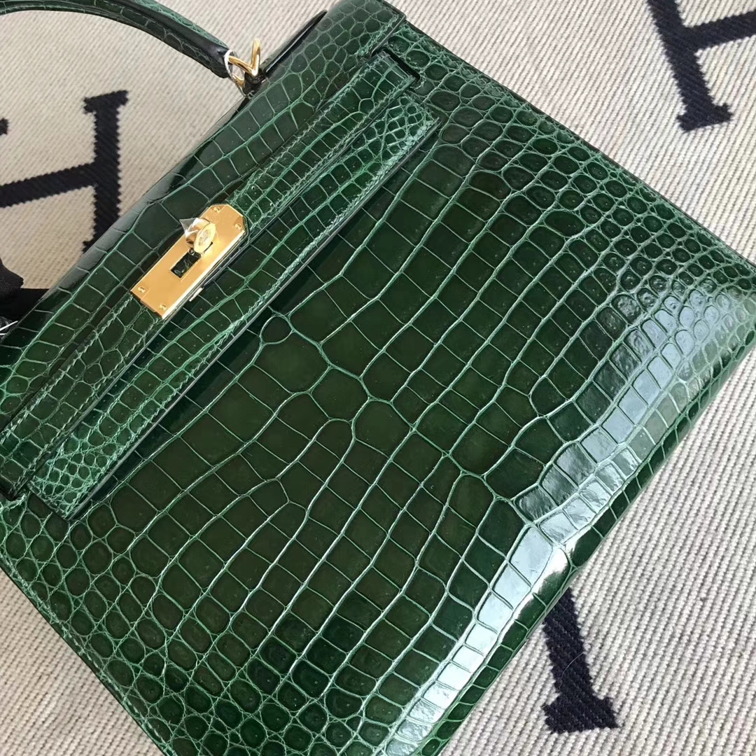 Fashion Hermes Shiny Porosus Crocodile Kelly Bag28CM in CK67 Vert Fonce Gold Hardware