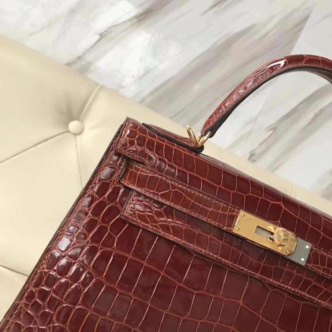 Luxury Hermes Shiny Porosus Crocodile Kelly28CM Bag Gold Hardware