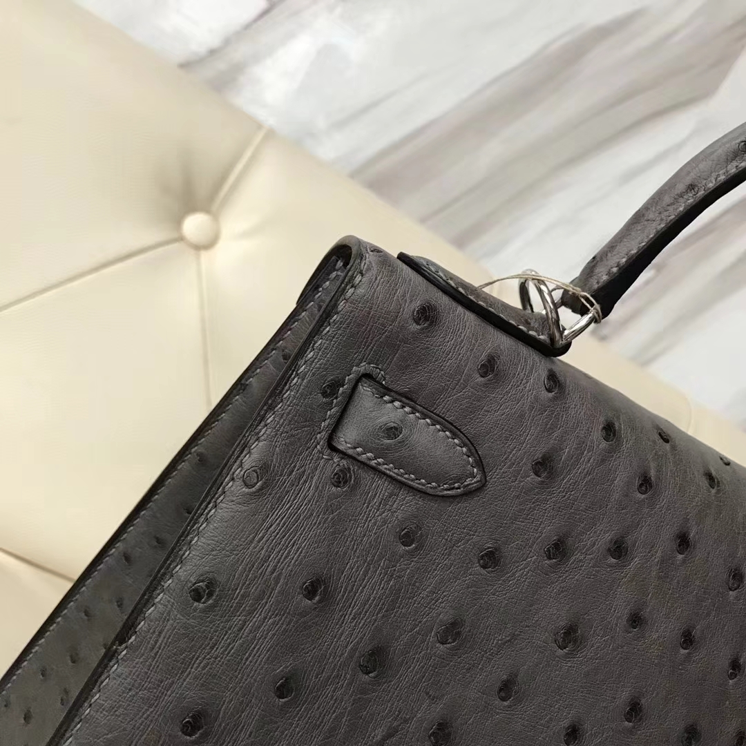 Wholesale Hermes Etain Grey Ostrich Leather Sellier Kelly Bag28cm Silver Hardware