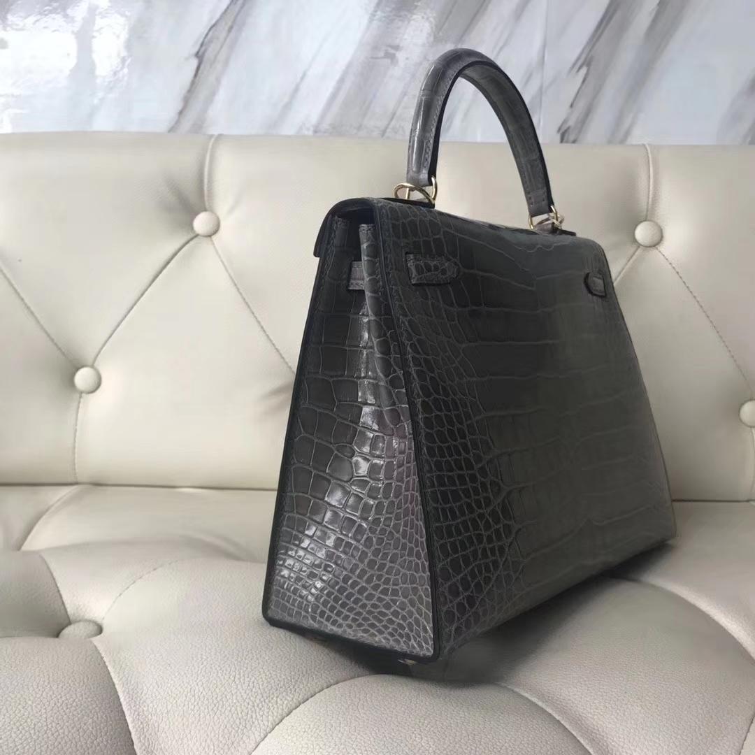 Noble Hermes M8 Gris Ashpite Shiny Crocodile Leather Kelly25CM Bag Gold/Silver Hardware